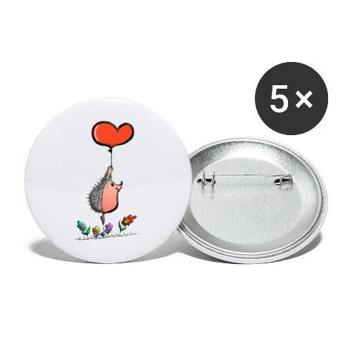 Hérisson avec une ballon pour les amoureux - Lot de 5 grands badges (56 mm)