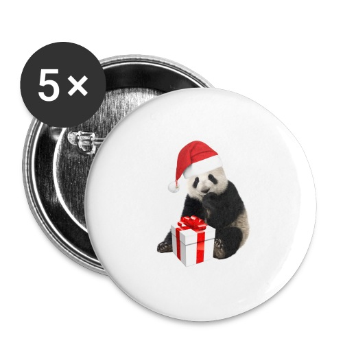 WEIHNACHTS-PANDA - Buttons groß 56 mm (5er Pack)