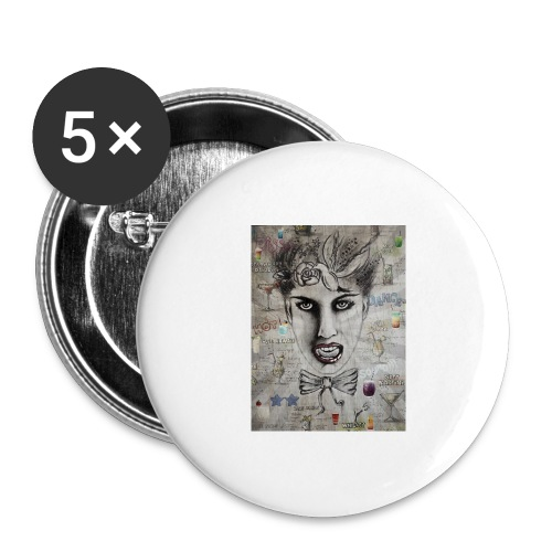 Crazy Cocktail - Buttons groß 56 mm (5er Pack)