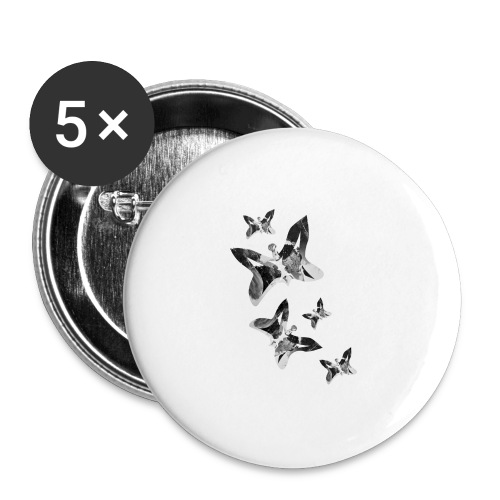 Schmetterlinge - Buttons groß 56 mm (5er Pack)