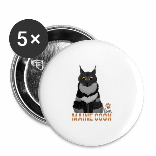 Maine Coon lover - Lot de 5 grands badges (56 mm)