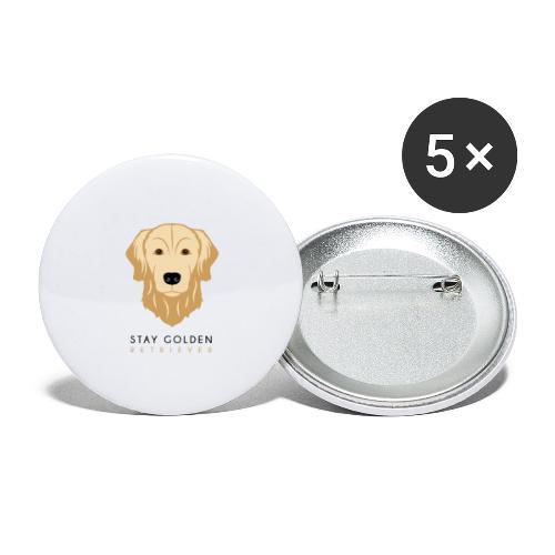 Golden Retriever - Dark - Confezione da 5 spille grandi (56 mm)
