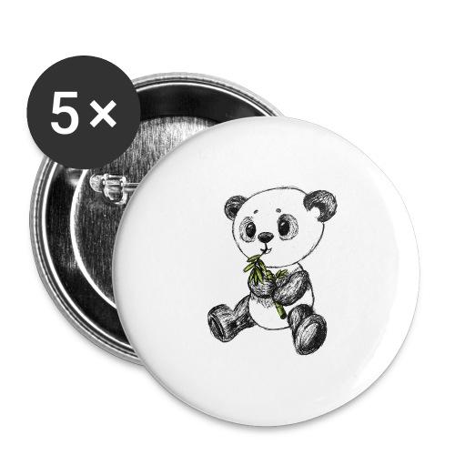 Panda Bär farbig scribblesirii - Buttons groß 56 mm (5er Pack)