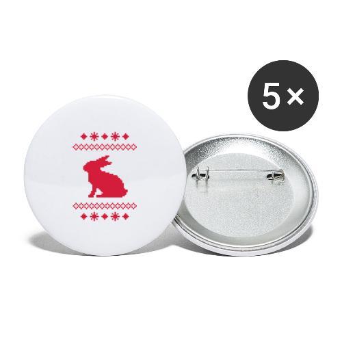 Norwegerhase hase kaninchen häschen bunny langohr - Buttons groß 56 mm (5er Pack)