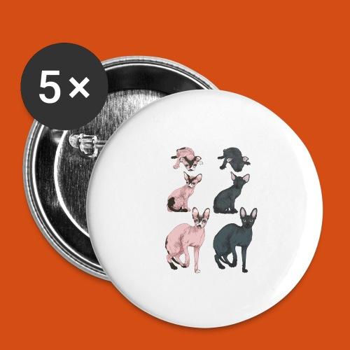 naaktkat geboorte tot volwassen - Buttons groot 56 mm (5-pack)