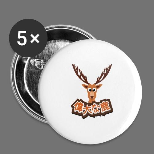 Suuri hirvi (Japani 偉大 な 鹿) - Rintamerkit isot 56 mm (5kpl pakkauksessa)