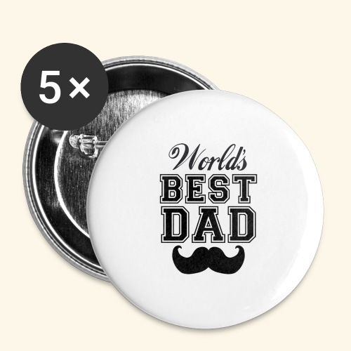 Worlds best dad - Buttons/Badges stor, 56 mm (5-pack)