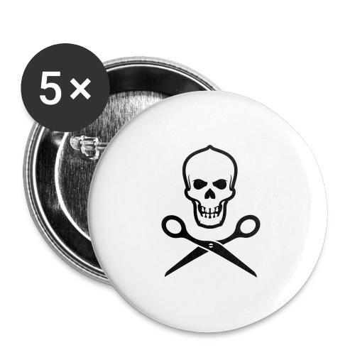Totenkopf mit Schere - Buttons groß 56 mm (5er Pack)