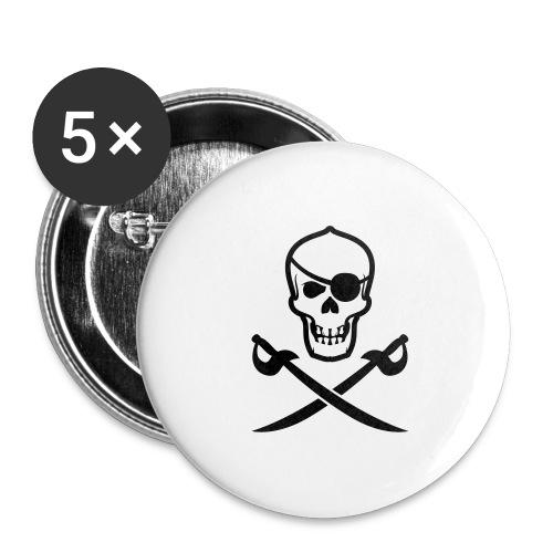 Totenkopf Pirat - Buttons groß 56 mm (5er Pack)
