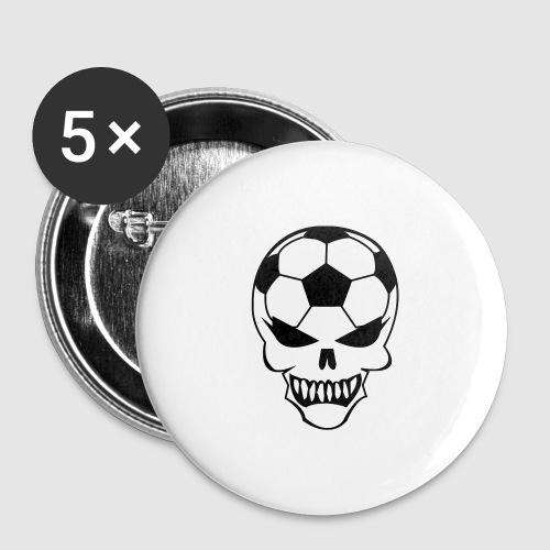 Fußball-Totenkopf - Buttons groß 56 mm (5er Pack)
