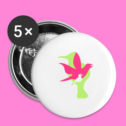 birds - Buttons groot 56 mm (5-pack)