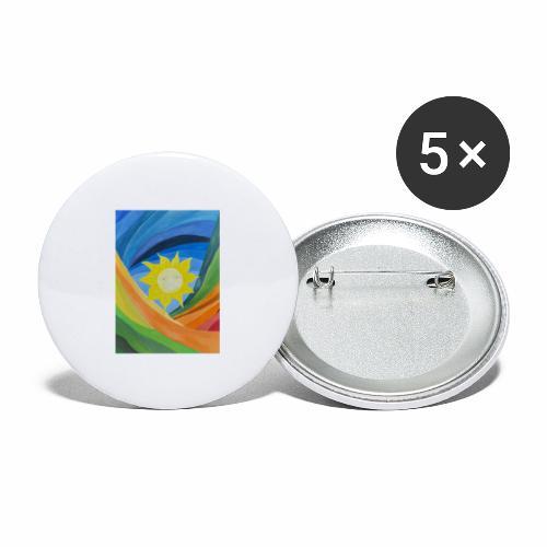 lachende-sonne - Buttons groß 56 mm (5er Pack)