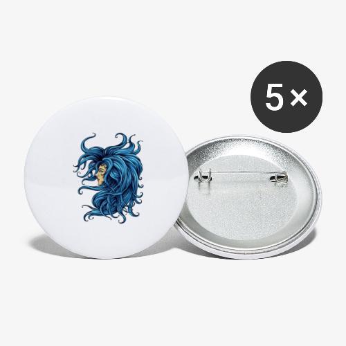 Dame dans le bleu - Lot de 5 grands badges (56 mm)