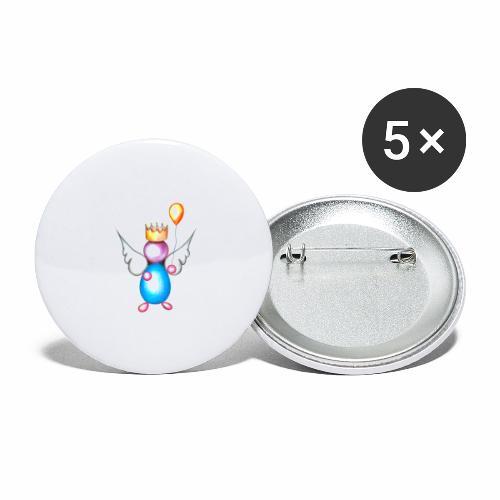 Mettalic Angel geluk - Buttons groot 56 mm (5-pack)