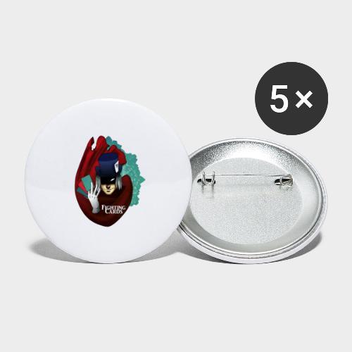 Fighting cards - Magicien - Lot de 5 grands badges (56 mm)