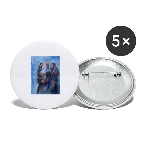 flatcoated retriever - watercolor - Buttons/Badges stor, 56 mm (5-pack)