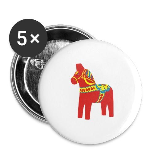 Dalahäst Dalecarlian Horse Dala-Pferd. Schweden - Buttons groß 56 mm (5er Pack)