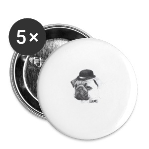 pug with bowler - Buttons/Badges stor, 56 mm