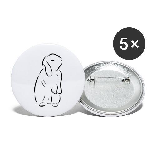 stehendes Häschen Hase Kaninchen Zwergkaninchen - Buttons groß 56 mm (5er Pack)