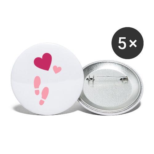 Heart & steps - Stora knappar 56 mm (5-pack)