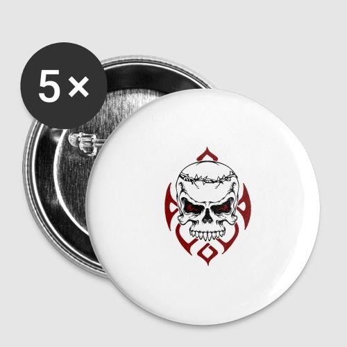 Totenkopf - Buttons groß 56 mm (5er Pack)