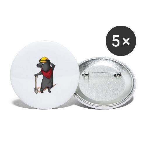 Arbeiter Ratte - Buttons groß 56 mm (5er Pack)