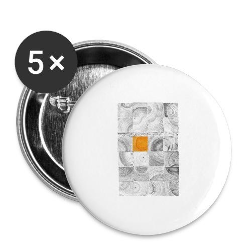 Cubes de Bois - Lot de 5 grands badges (56 mm)