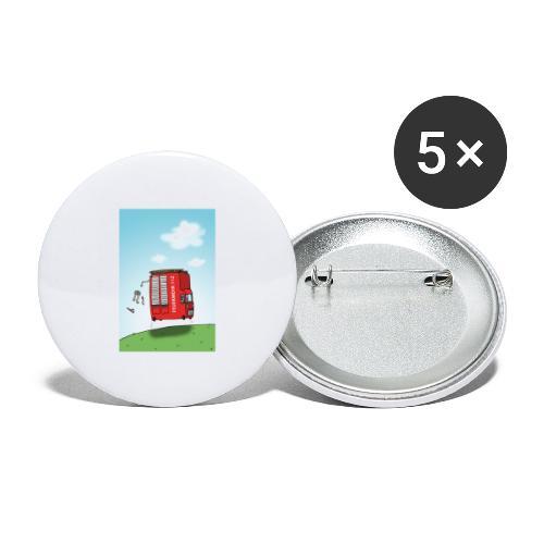 Feuerwehrwagen - Buttons groß 56 mm (5er Pack)