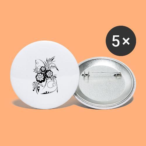 exposion florale - Lot de 5 grands badges (56 mm)