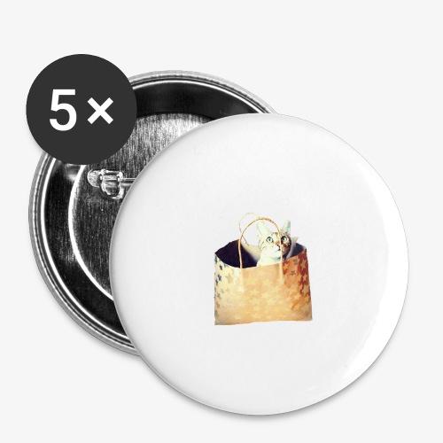 Katze im Sack - Buttons groß 56 mm (5er Pack)