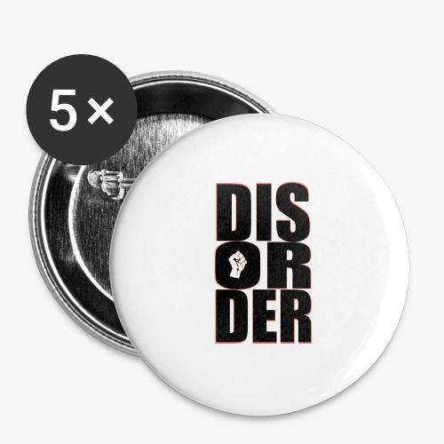 Disorder Logo Schwarz - Buttons groß 56 mm (5er Pack)