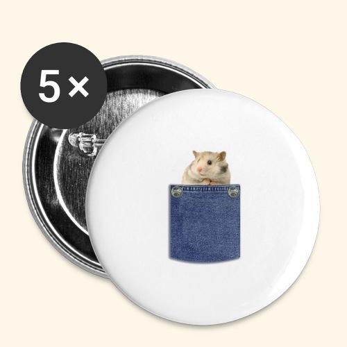 hamster in the poket - Confezione da 5 spille grandi (56 mm)