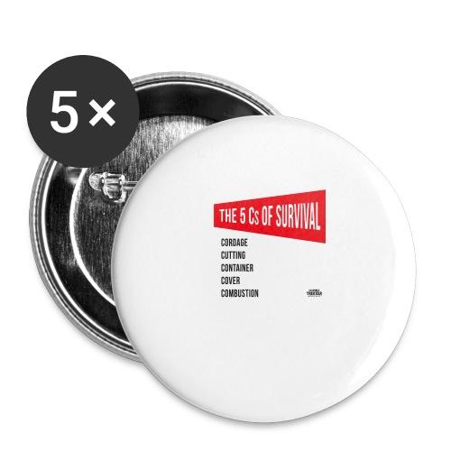 5Cs of Survival Red - Stora knappar 56 mm (5-pack)