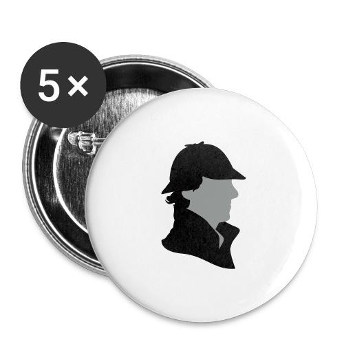 Sherlock Holmes Funny Hat - Buttons groß 56 mm (5er Pack)