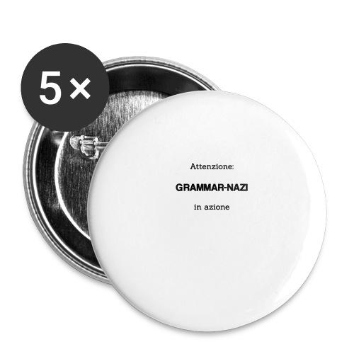 Attenzione: Grammar-nazi in azione - Confezione da 5 spille grandi (56 mm)