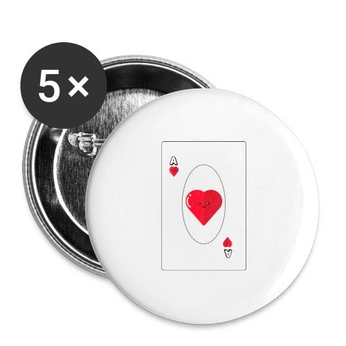 poker heart - Paquete de 5 chapas grandes (56 mm)