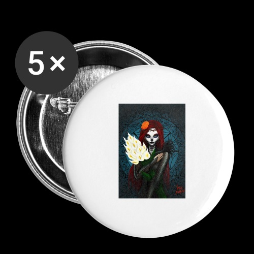 Death and lillies - Buttons large 2.2''/56 mm (5-pack)