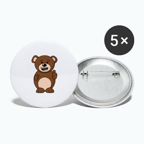 Bruno Bear Happy - Appelsin - Stora knappar 56 mm (5-pack)