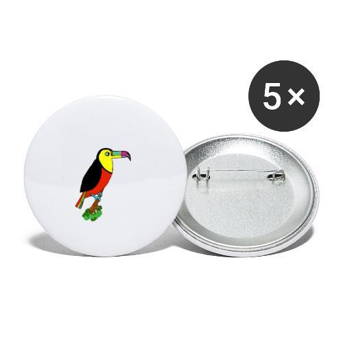 Le toucan - Lot de 5 grands badges (56 mm)