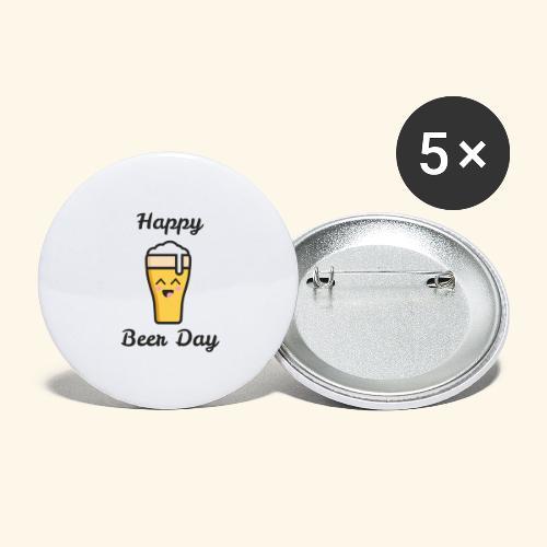 happy beer day - Lot de 5 grands badges (56 mm)