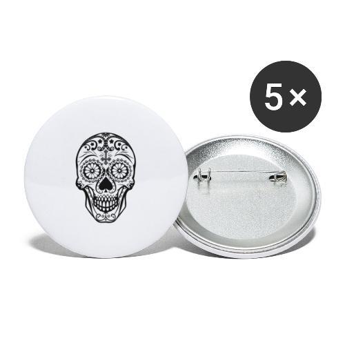 Skull black - Buttons groß 56 mm (5er Pack)
