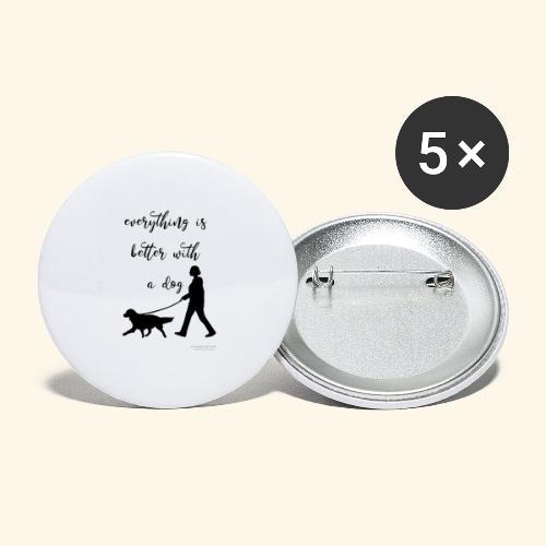 Dog walking - Buttons groß 56 mm (5er Pack)