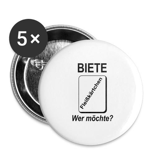 Biete Fleißkärtchen Arbeit Büro Spruch - Buttons groß 56 mm (5er Pack)