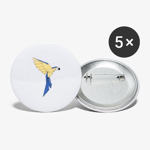Papagei geometrisch - Buttons groß 56 mm (5er Pack)