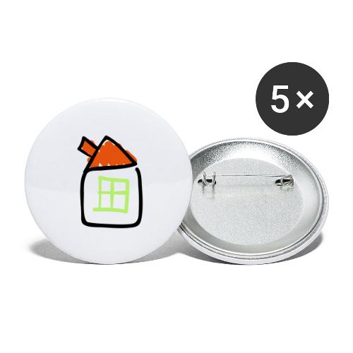 House Line Drawing Pixellamb - Buttons groß 56 mm (5er Pack)
