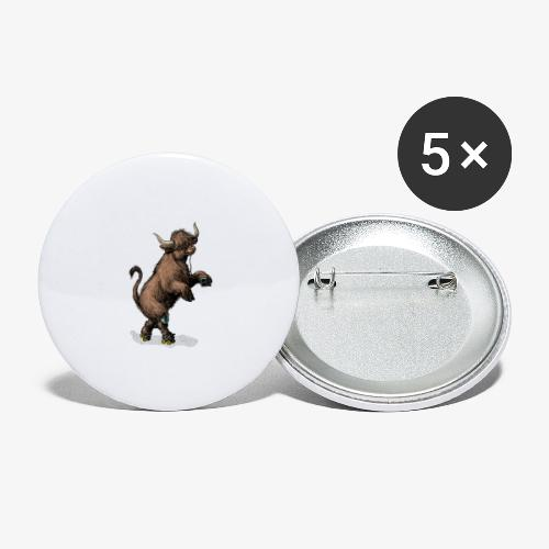 Highland Cow on roller skates - Buttons large 2.2''/56 mm (5-pack)
