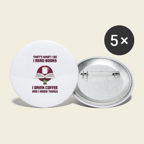 Buch und Kaffee, dunkel - Buttons groß 56 mm (5er Pack)
