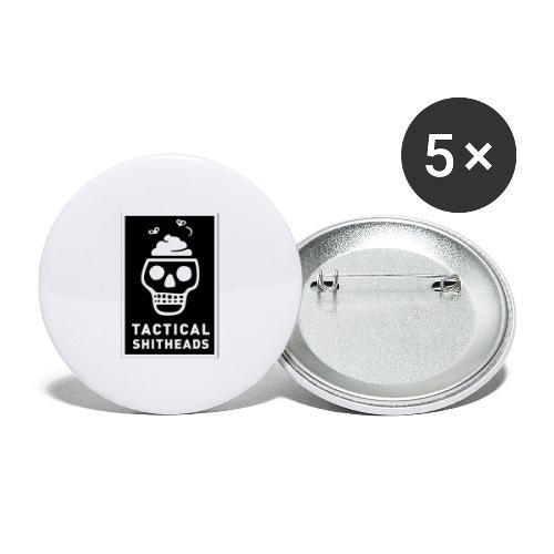 Tacshit Shitheadskull - Buttons groß 56 mm (5er Pack)