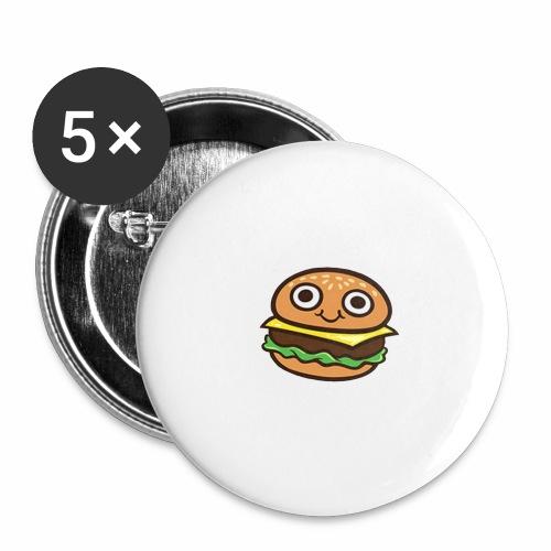 Burger Cartoon - Buttons groot 56 mm (5-pack)