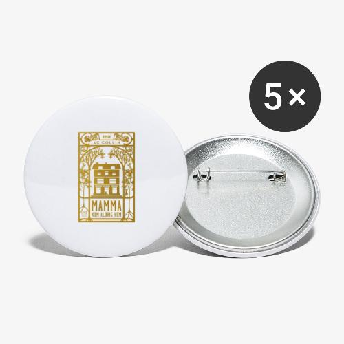 mamma kom aldrig hem 300dpi gold png - Stora knappar 56 mm (5-pack)